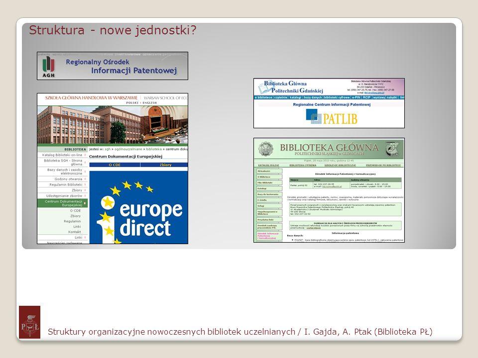 Struktura - nowe jednostki? Struktury organizacyjne nowoczesnych bibliotek uczelnianych / I. Gajda, A. Ptak (Biblioteka PŁ)