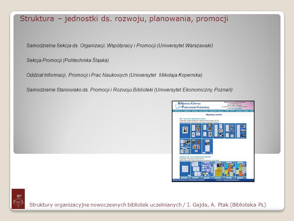 Struktura – jednostki ds. rozwoju, planowania, promocji Struktury organizacyjne nowoczesnych bibliotek uczelnianych / I. Gajda, A. Ptak (Biblioteka PŁ