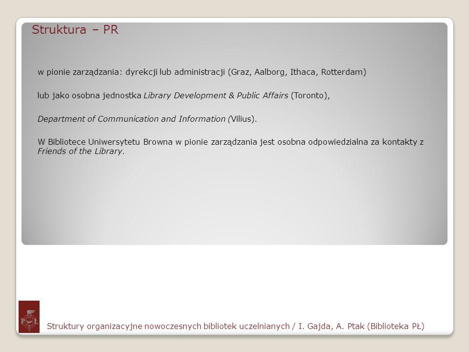 Struktura – PR Struktury organizacyjne nowoczesnych bibliotek uczelnianych / I. Gajda, A. Ptak (Biblioteka PŁ) w pionie zarządzania: dyrekcji lub admi