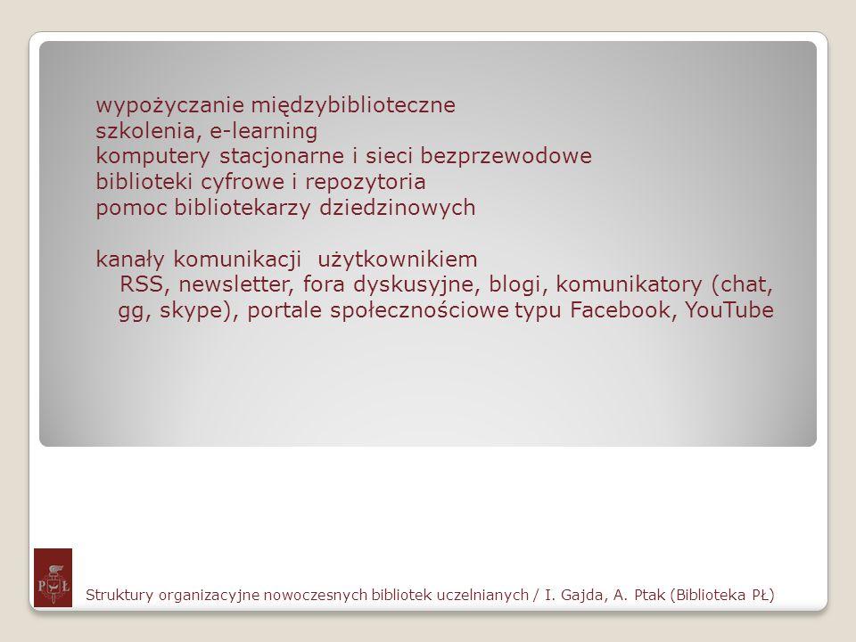 Struktury organizacyjne nowoczesnych bibliotek uczelnianych / I. Gajda, A. Ptak (Biblioteka PŁ) wypożyczanie międzybiblioteczne szkolenia, e-learning