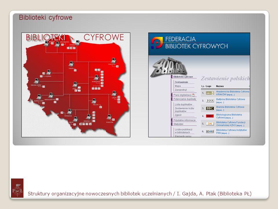 Biblioteki cyfrowe Struktury organizacyjne nowoczesnych bibliotek uczelnianych / I. Gajda, A. Ptak (Biblioteka PŁ)