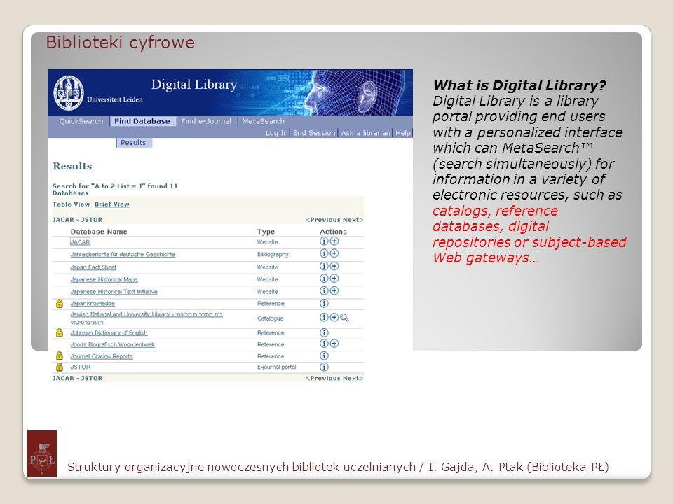 Biblioteki cyfrowe Struktury organizacyjne nowoczesnych bibliotek uczelnianych / I. Gajda, A. Ptak (Biblioteka PŁ) What is Digital Library? Digital Li