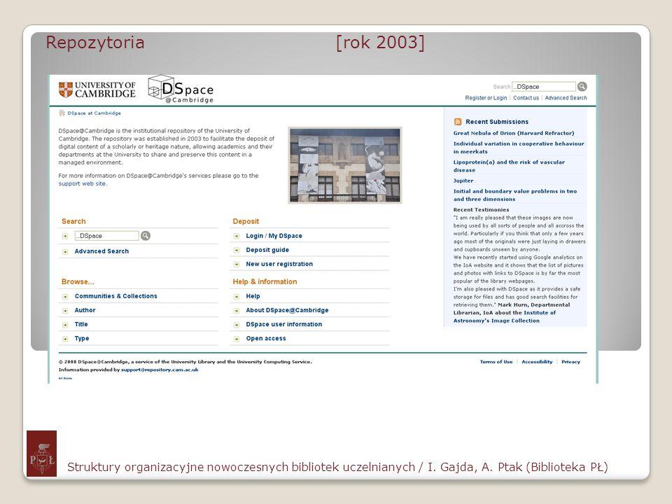 Repozytoria [rok 2003] Struktury organizacyjne nowoczesnych bibliotek uczelnianych / I. Gajda, A. Ptak (Biblioteka PŁ)