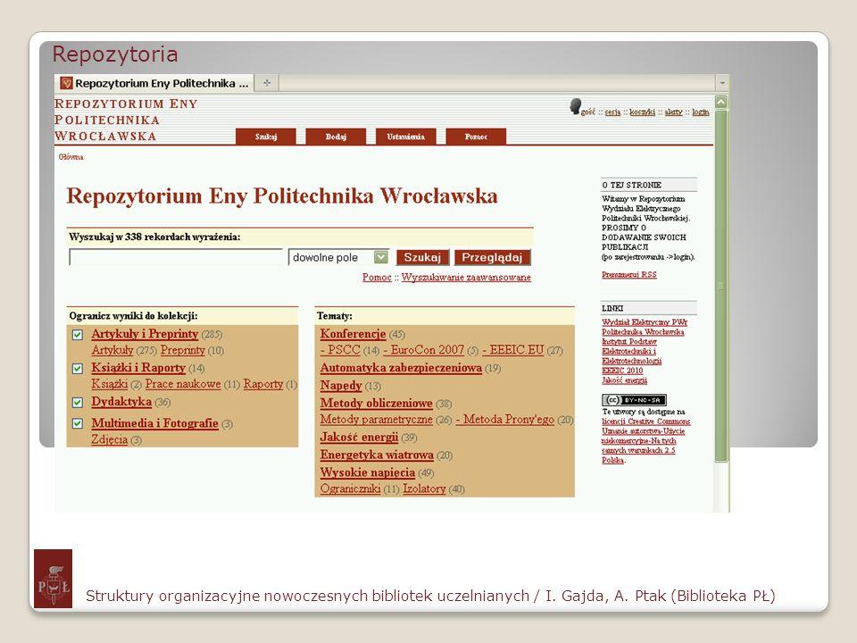 Repozytoria Struktury organizacyjne nowoczesnych bibliotek uczelnianych / I. Gajda, A. Ptak (Biblioteka PŁ)