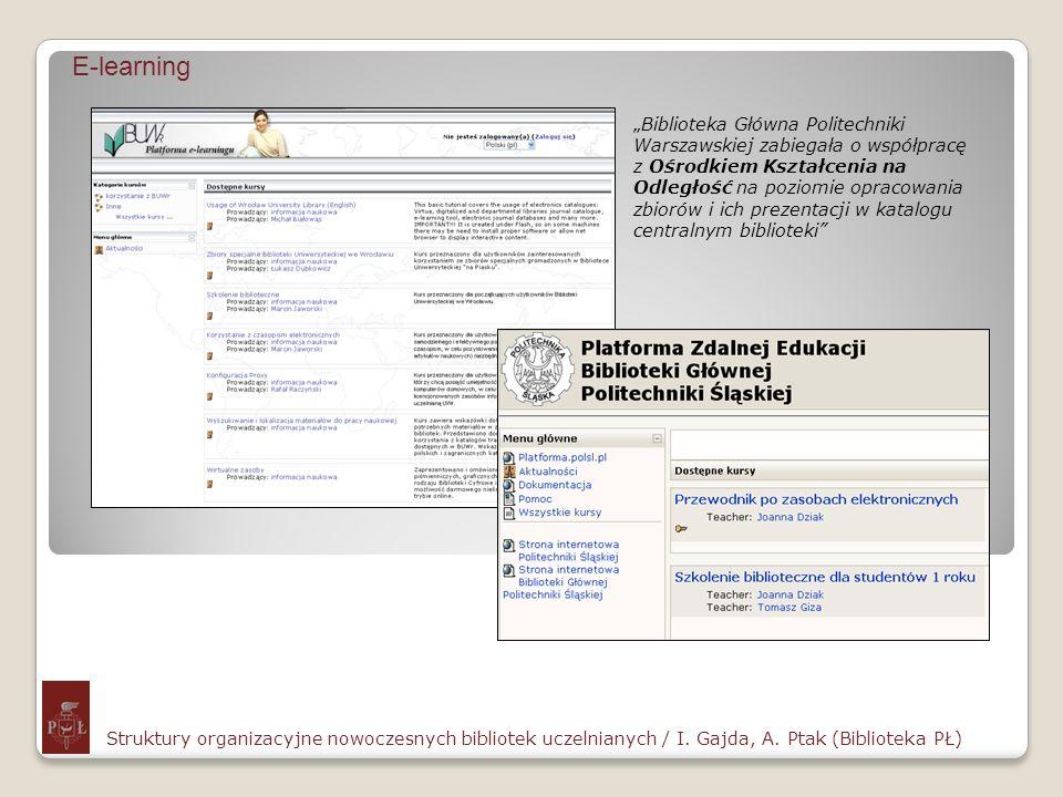 E-learning Struktury organizacyjne nowoczesnych bibliotek uczelnianych / I. Gajda, A. Ptak (Biblioteka PŁ) Biblioteka Główna Politechniki Warszawskiej