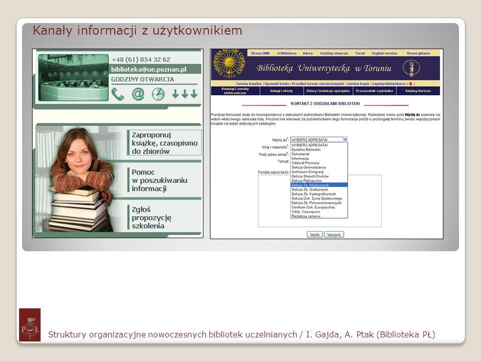 Kanały informacji z użytkownikiem Struktury organizacyjne nowoczesnych bibliotek uczelnianych / I. Gajda, A. Ptak (Biblioteka PŁ)