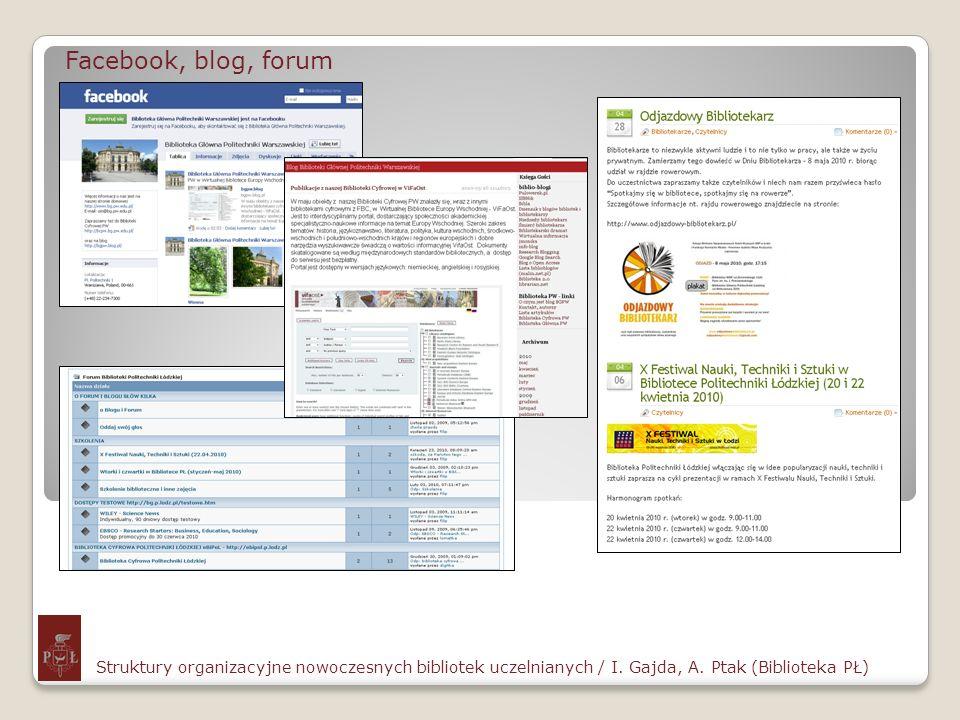 Facebook, blog, forum Struktury organizacyjne nowoczesnych bibliotek uczelnianych / I. Gajda, A. Ptak (Biblioteka PŁ)