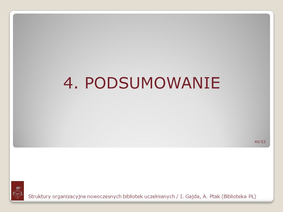 4. PODSUMOWANIE Struktury organizacyjne nowoczesnych bibliotek uczelnianych / I. Gajda, A. Ptak (Biblioteka PŁ) 49/53