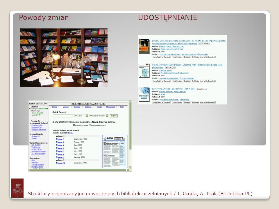 Szkolenia Struktury organizacyjne nowoczesnych bibliotek uczelnianych / I.