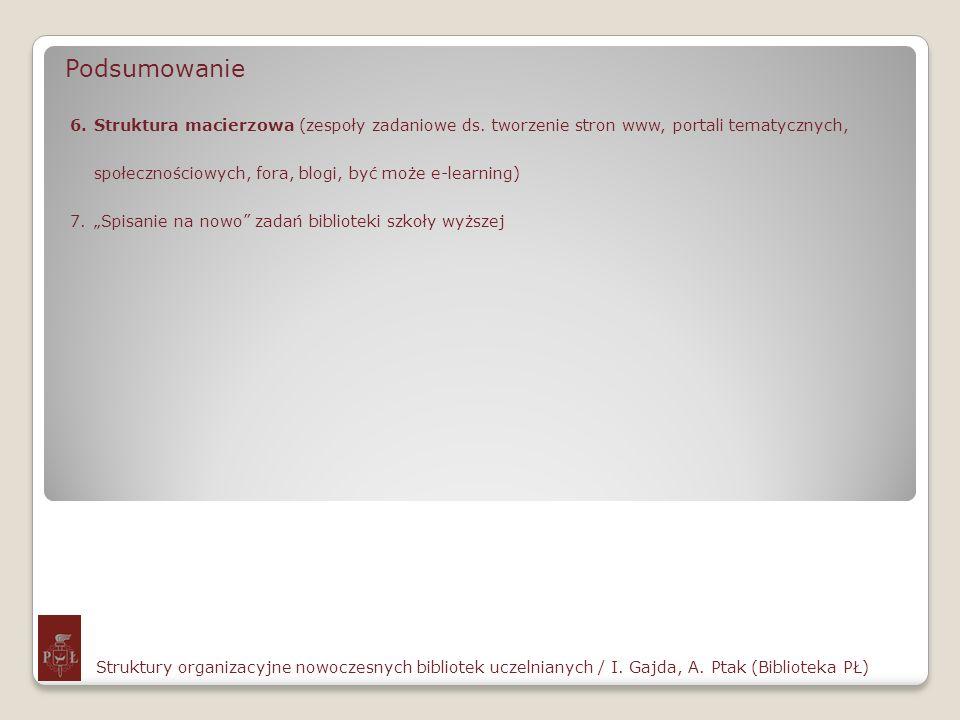 Podsumowanie Struktury organizacyjne nowoczesnych bibliotek uczelnianych / I. Gajda, A. Ptak (Biblioteka PŁ) 6.Struktura macierzowa (zespoły zadaniowe