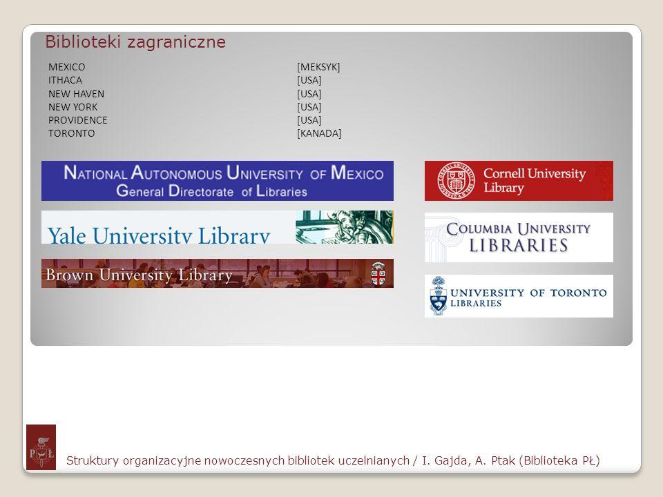 Biblioteki zagraniczne Struktury organizacyjne nowoczesnych bibliotek uczelnianych / I. Gajda, A. Ptak (Biblioteka PŁ) MEXICO[MEKSYK] ITHACA[USA] NEW