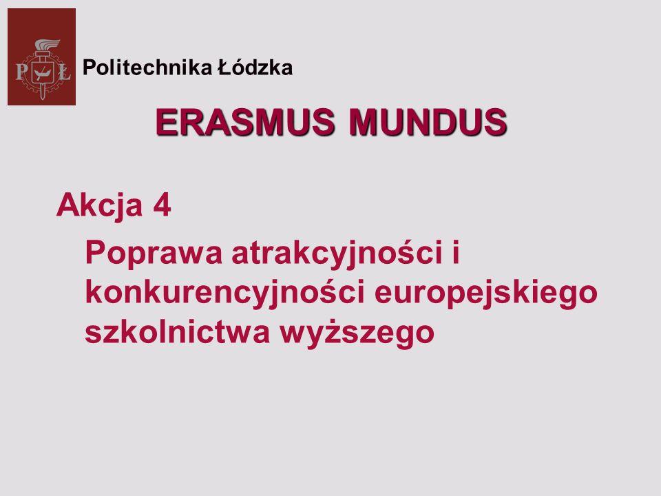 ERASMUS MUNDUS Akcja 4 Poprawa atrakcyjności i konkurencyjności europejskiego szkolnictwa wyższego Politechnika Łódzka