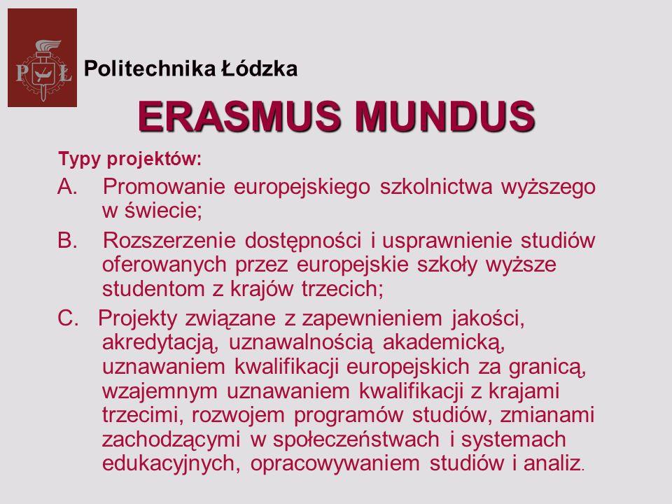 ERASMUS MUNDUS Typy projektów: A. Promowanie europejskiego szkolnictwa wyższego w świecie; B.