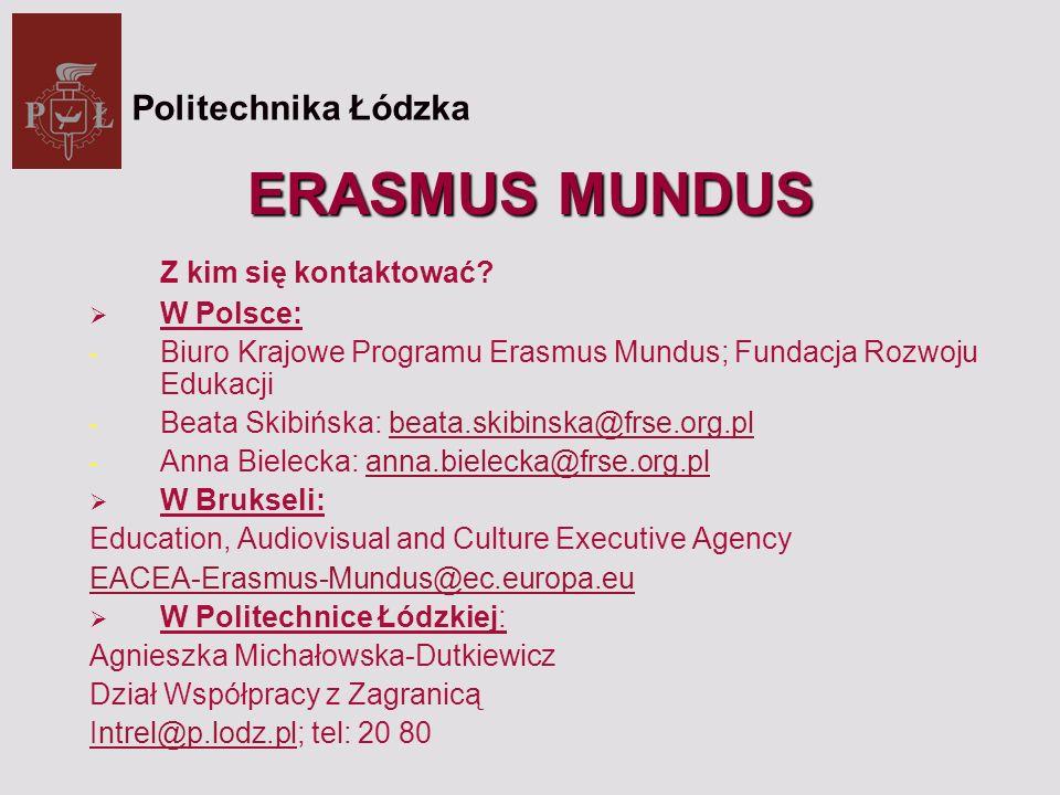 ERASMUS MUNDUS Z kim się kontaktować.