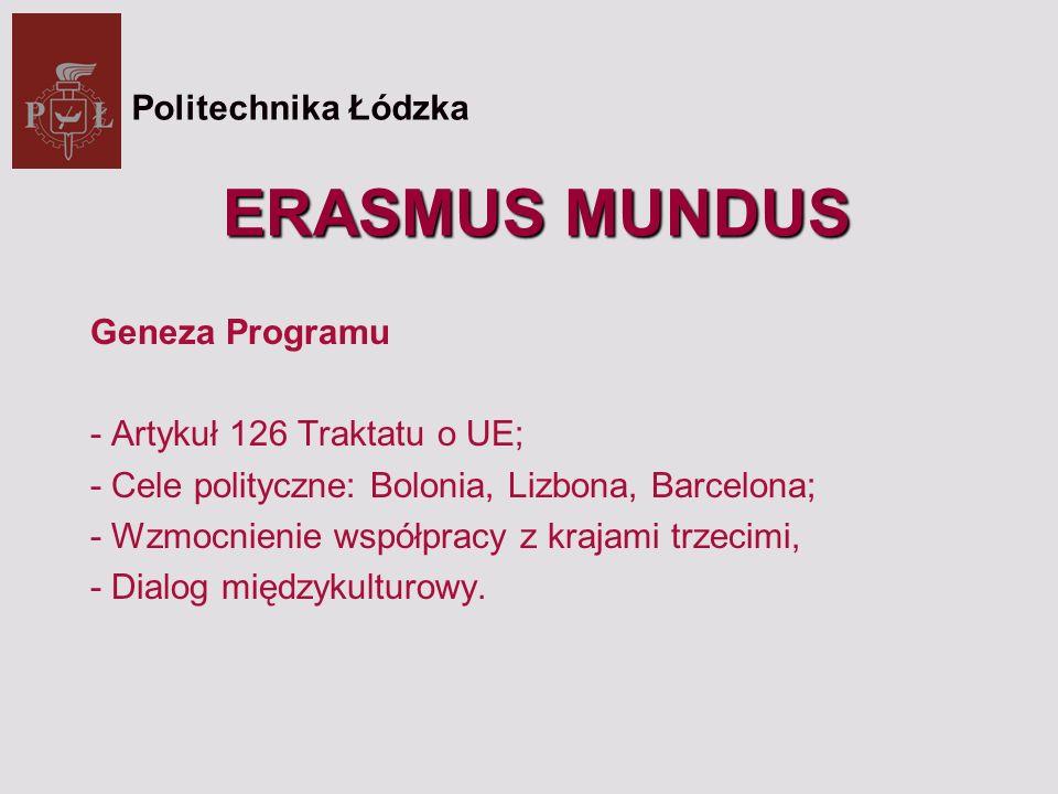 ERASMUS MUNDUS Geneza Programu - Artykuł 126 Traktatu o UE; - Cele polityczne: Bolonia, Lizbona, Barcelona; - Wzmocnienie współpracy z krajami trzecimi, - Dialog międzykulturowy.
