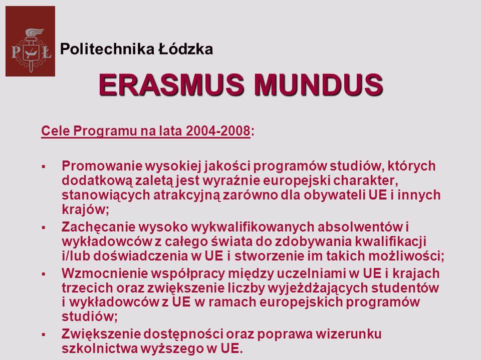ERASMUS MUNDUS Kraje uczestniczące -27 państw członkowskich UE; -3 kraje EFTA/EEA: Norwegia, Lichtenstein, Islandia; -Kraje kandydujące: Turcja oraz Chorwacja i Macedonia Politechnika Łódzka