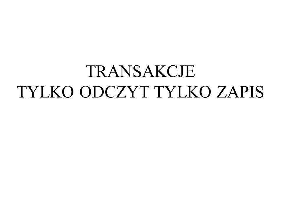 TRANSAKCJE TYLKO ODCZYT TYLKO ZAPIS