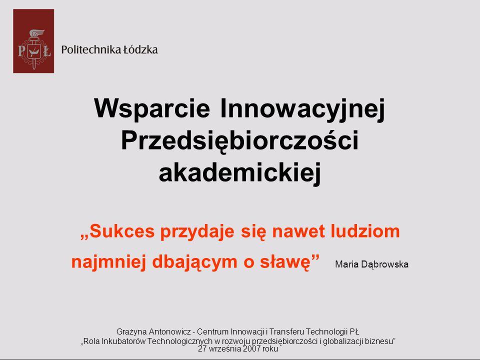 Wsparcie Innowacyjnej Przedsiębiorczości akademickiej Sukces przydaje się nawet ludziom najmniej dbającym o sławę Maria Dąbrowska Grażyna Antonowicz -