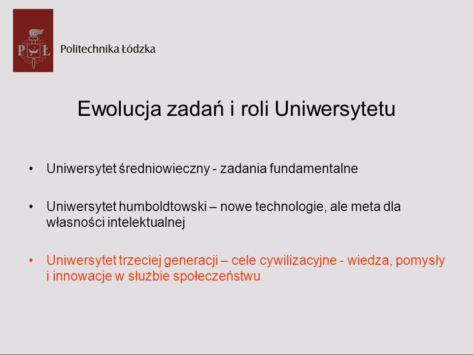 Ewolucja zadań i roli Uniwersytetu Uniwersytet średniowieczny - zadania fundamentalne Uniwersytet humboldtowski – nowe technologie, ale meta dla własn