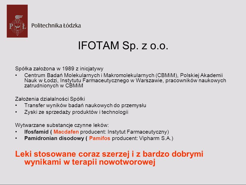 IFOTAM Sp. z o.o. Spółka założona w 1989 z inicjatywy Centrum Badań Molekularnych i Makromolekularnych (CBMiM), Polskiej Akademii Nauk w Łodzi, Instyt