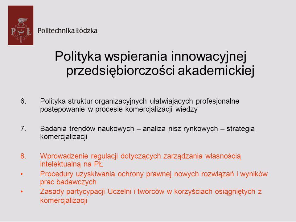Przykłady wdrażania innowacyjnej przedsiębiorczości akademickiej 1.Projekt pilotażowy MNISW Wsparcie Innowacyjnej Przedsiębiorczości Akademickiej 2.Wspólny Projekt Europejskiego Urzędu Patentowego/ Urzędu Patentowego Rzeczypospolitej Polskiej /Politechniki Łódzkiej 3.Inicjatywa technologiczna 4.Kreator Innowacyjności