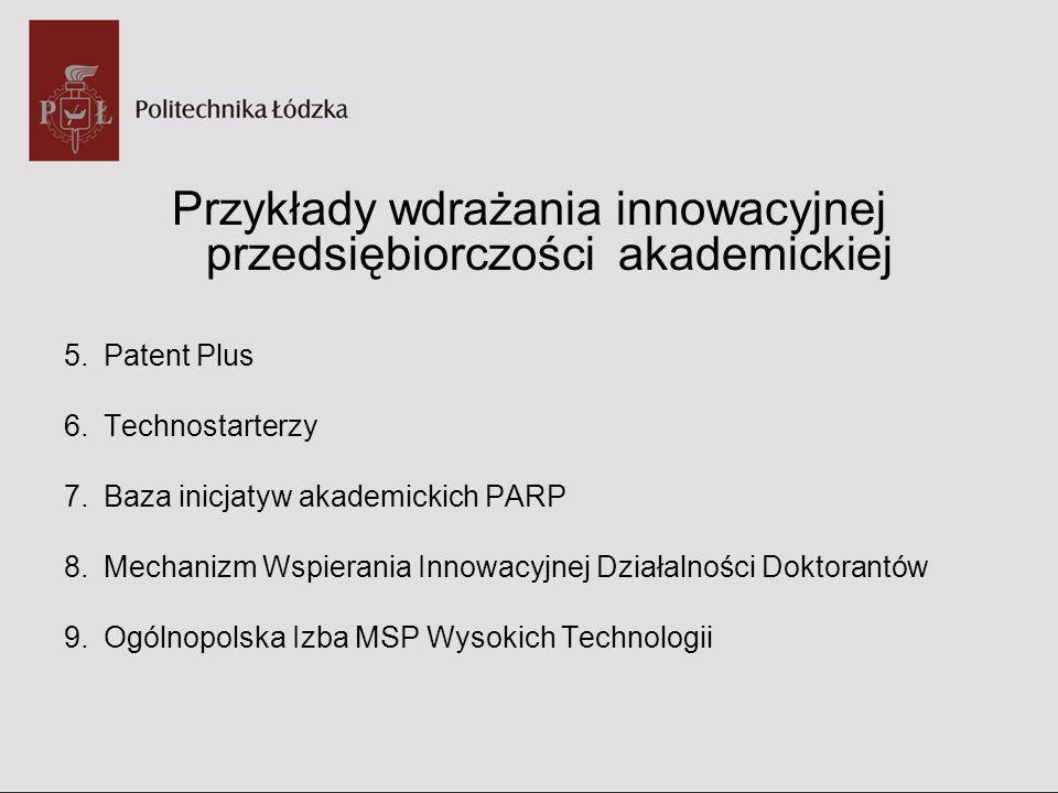 Przykłady wdrażania innowacyjnej przedsiębiorczości akademickiej 5.Patent Plus 6.Technostarterzy 7.Baza inicjatyw akademickich PARP 8.Mechanizm Wspier