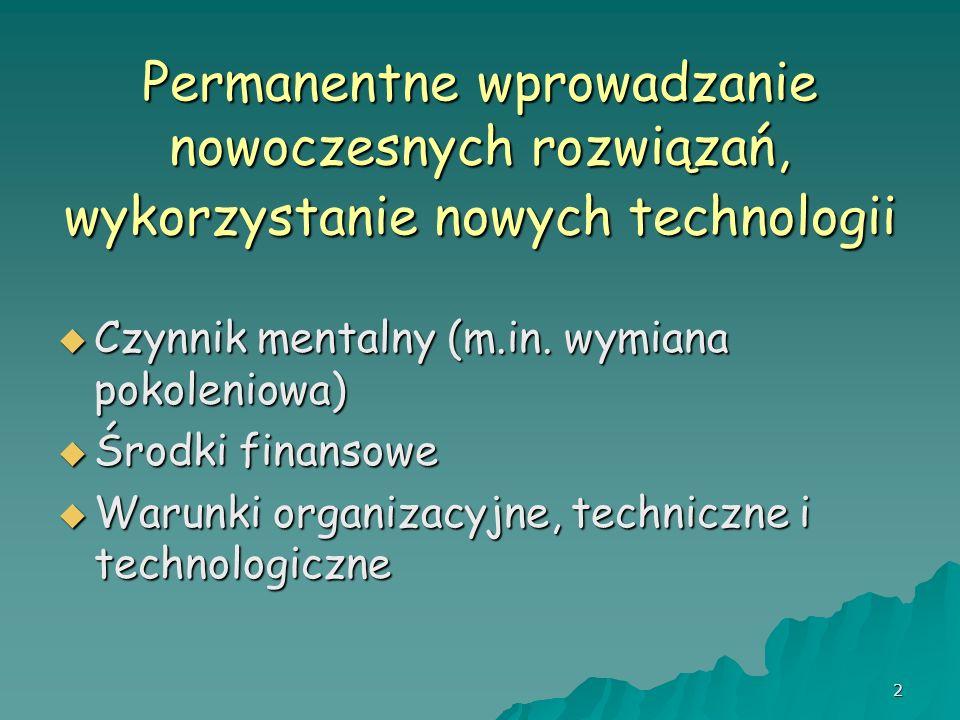 2 Permanentne wprowadzanie nowoczesnych rozwiązań, wykorzystanie nowych technologii Czynnik mentalny (m.in. wymiana pokoleniowa) Czynnik mentalny (m.i