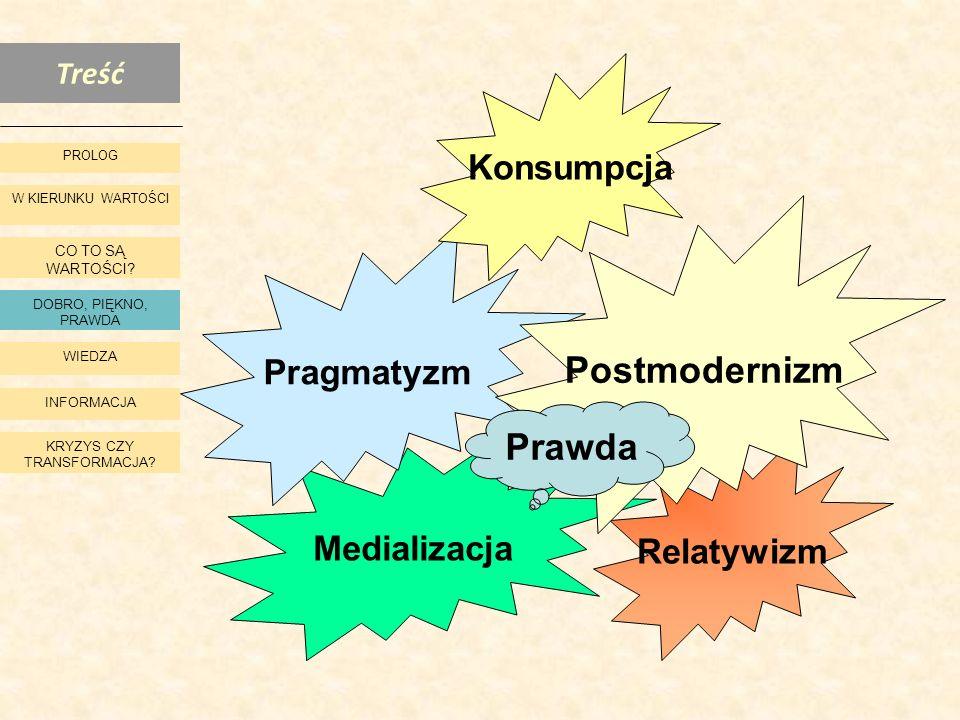 Treść W KIERUNKU WARTOŚCI CO TO SĄ WARTOŚCI? DOBRO, PIĘKNO, PRAWDA WIEDZA INFORMACJA KRYZYS CZY TRANSFORMACJA? PROLOG Medializacja Pragmatyzm Relatywi