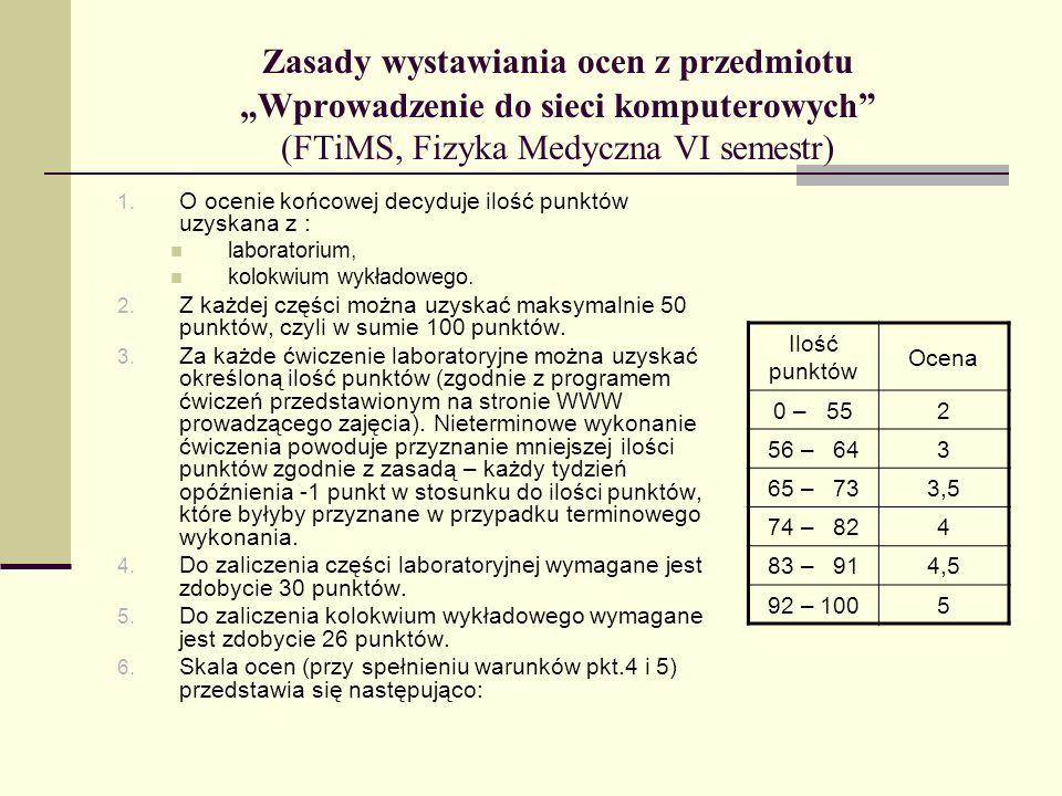 Zasady wystawiania ocen z przedmiotu Wprowadzenie do sieci komputerowych (FTiMS, Fizyka Medyczna VI semestr) 1. O ocenie końcowej decyduje ilość punkt