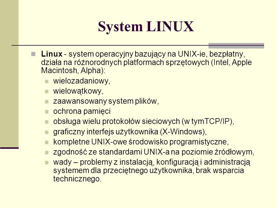 System LINUX Linux - system operacyjny bazujący na UNIX-ie, bezpłatny, działa na różnorodnych platformach sprzętowych (Intel, Apple Macintosh, Alpha):