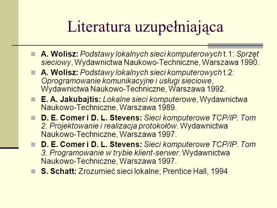 Literatura uzupełniająca A. Wolisz: Podstawy lokalnych sieci komputerowych t.1: Sprzęt sieciowy, Wydawnictwa Naukowo-Techniczne, Warszawa 1990. A. Wol