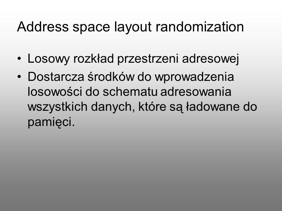 Address space layout randomization Losowy rozkład przestrzeni adresowej Dostarcza środków do wprowadzenia losowości do schematu adresowania wszystkich