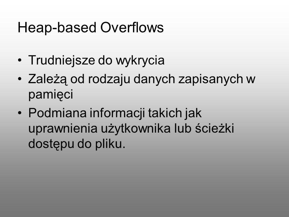 Heap-based Overflows Trudniejsze do wykrycia Zależą od rodzaju danych zapisanych w pamięci Podmiana informacji takich jak uprawnienia użytkownika lub