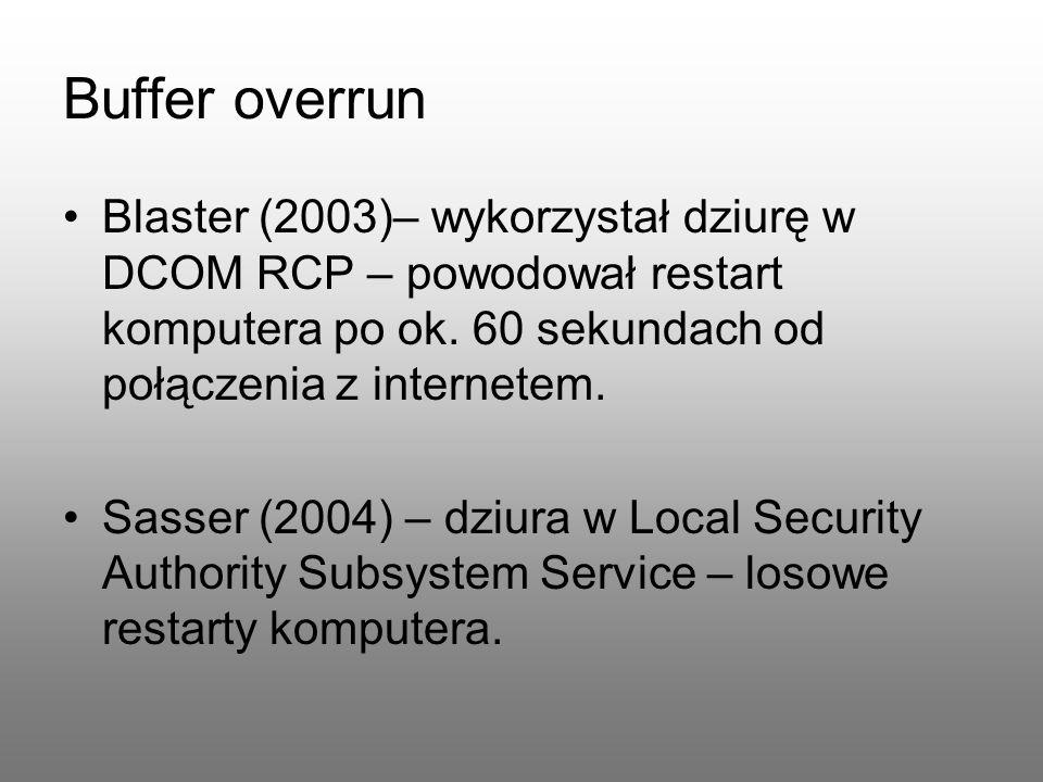 Buffer overrun Blaster (2003)– wykorzystał dziurę w DCOM RCP – powodował restart komputera po ok. 60 sekundach od połączenia z internetem. Sasser (200