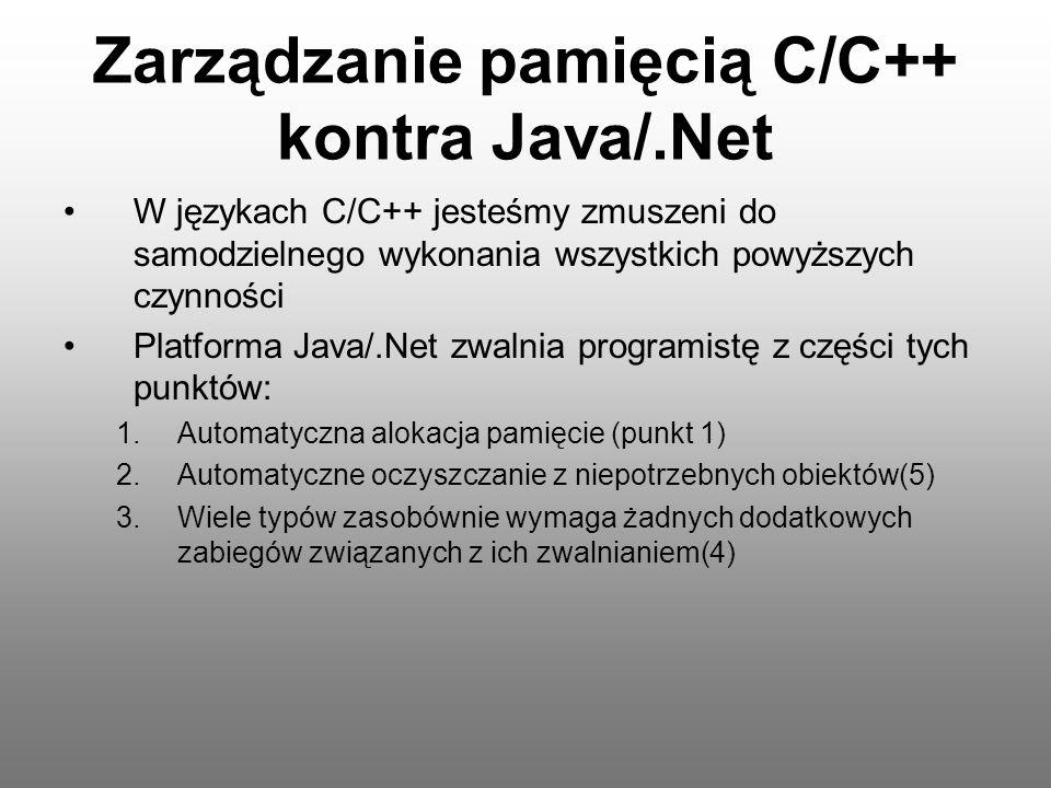 Zarządzanie pamięcią C/C++ kontra Java/.Net W językach C/C++ jesteśmy zmuszeni do samodzielnego wykonania wszystkich powyższych czynności Platforma Ja