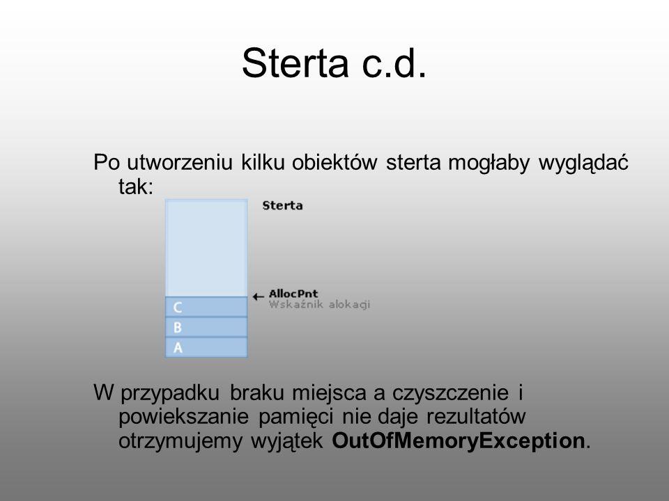 Sterta c.d. Po utworzeniu kilku obiektów sterta mogłaby wyglądać tak: W przypadku braku miejsca a czyszczenie i powiekszanie pamięci nie daje rezultat