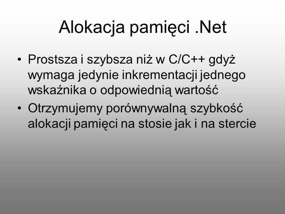 Alokacja pamięci.Net Prostsza i szybsza niż w C/C++ gdyż wymaga jedynie inkrementacji jednego wskaźnika o odpowiednią wartość Otrzymujemy porównywalną
