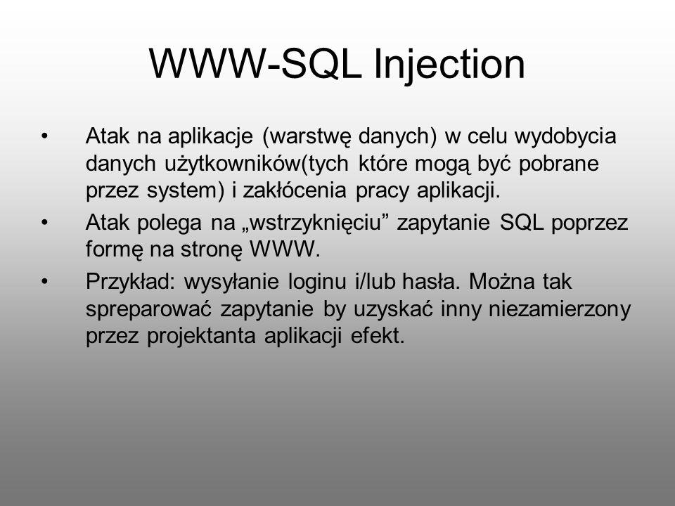 WWW-SQL Injection Atak na aplikacje (warstwę danych) w celu wydobycia danych użytkowników(tych które mogą być pobrane przez system) i zakłócenia pracy