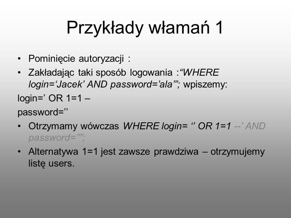 Przykłady włamań 1 Pominięcie autoryzacji : Zakładając taki sposób logowania :WHERE login=Jacek AND password=ala; wpiszemy: login= OR 1=1 – password=