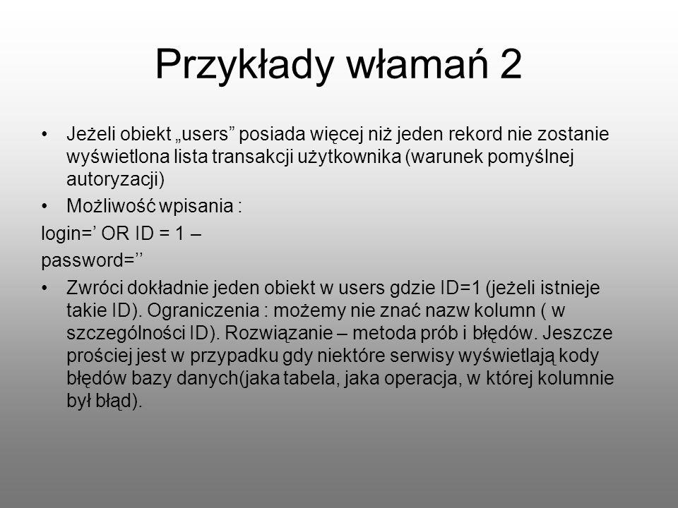 Przykłady włamań 2 Jeżeli obiekt users posiada więcej niż jeden rekord nie zostanie wyświetlona lista transakcji użytkownika (warunek pomyślnej autory