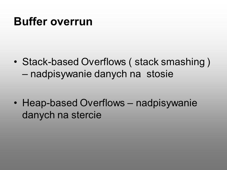 Stack-based Overflows void overflow_function (char *str) { char buffer[20]; strcpy(buffer, str); }