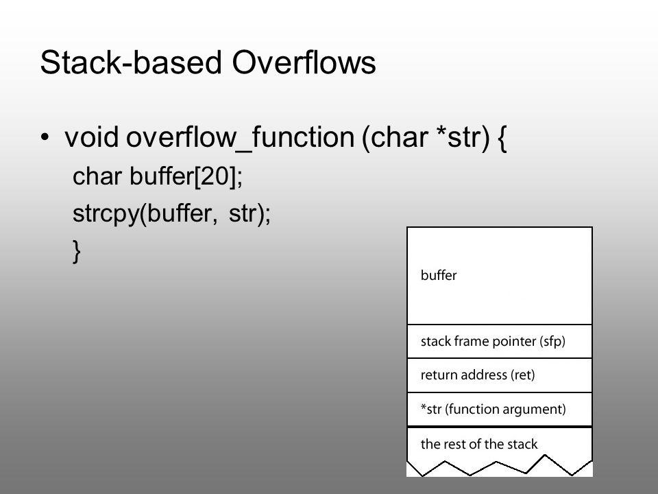 StackGuard Dodatek do kompilatora gcc 3.x Dodaje własny kod do każdej funkcji Używa kanarka obok adresu powrotu funkcji Przed powrotem z funkcji sprawdza poprawność kanarka