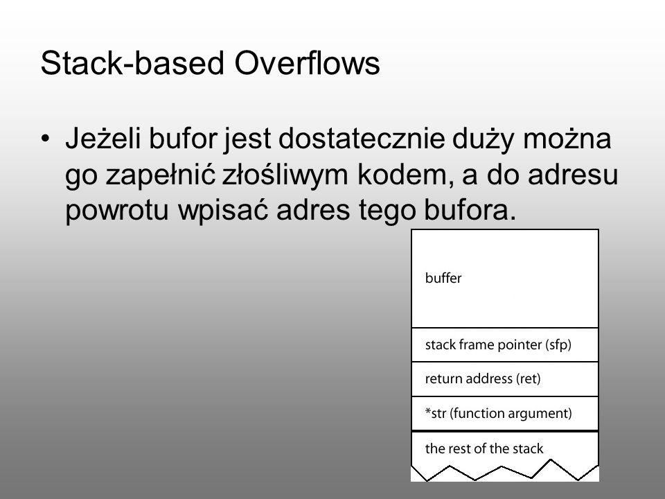 Stack-based Overflows Jeżeli bufor jest dostatecznie duży można go zapełnić złośliwym kodem, a do adresu powrotu wpisać adres tego bufora.