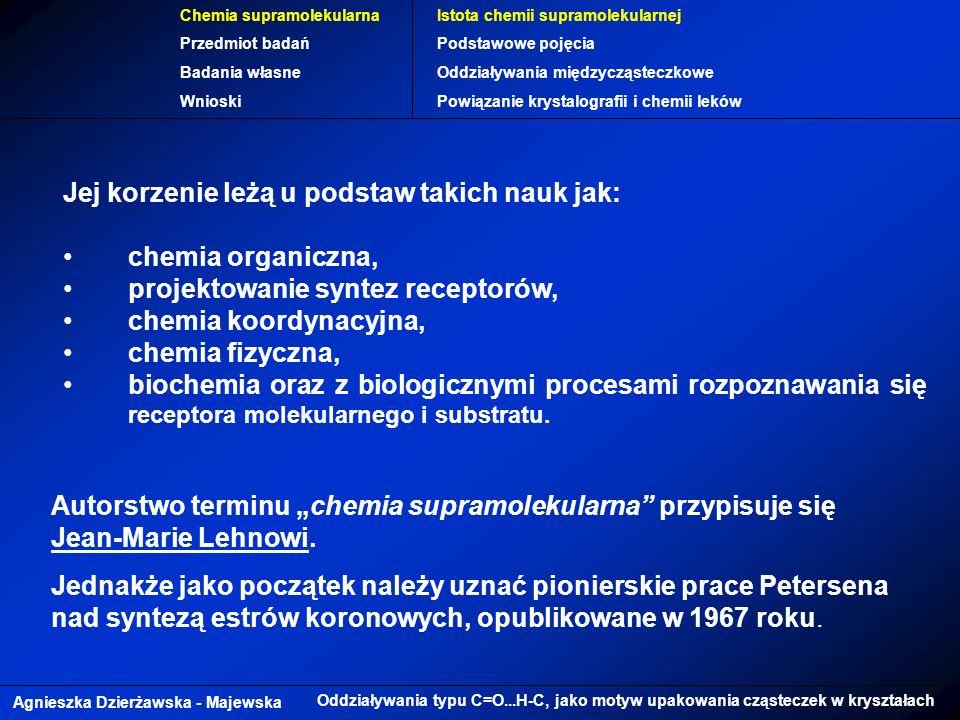Agnieszka Dzierżawska - Majewska Oddziaływania typu C=O...H-C, jako motyw upakowania cząsteczek w kryształach Chemia supramolekularna Przedmiot badań Badania własne Wnioski Istota chemii supramolekularnej Podstawowe pojęcia Oddziaływania międzycząsteczkowe Powiązanie krystalografii i chemii leków Jej korzenie leżą u podstaw takich nauk jak: chemia organiczna, projektowanie syntez receptorów, chemia koordynacyjna, chemia fizyczna, biochemia oraz z biologicznymi procesami rozpoznawania się receptora molekularnego i substratu.