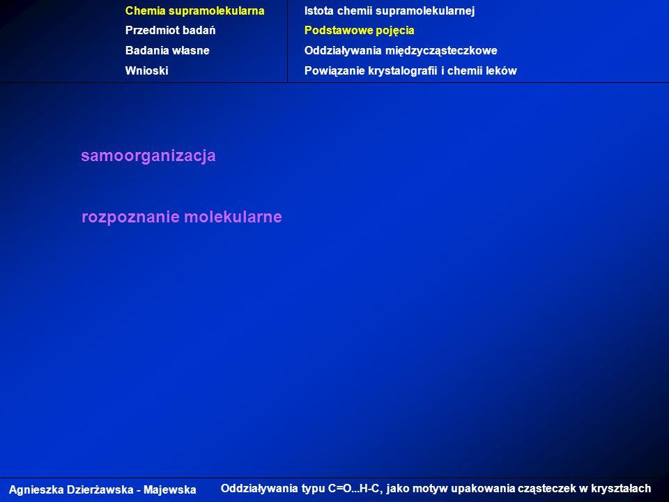 Agnieszka Dzierżawska - Majewska Oddziaływania typu C=O...H-C, jako motyw upakowania cząsteczek w kryształach Chemia supramolekularna Przedmiot badań Badania własne Wnioski Istota chemii supramolekularnej Podstawowe pojęcia Oddziaływania międzycząsteczkowe Powiązanie krystalografii i chemii leków samoorganizacja rozpoznanie molekularne