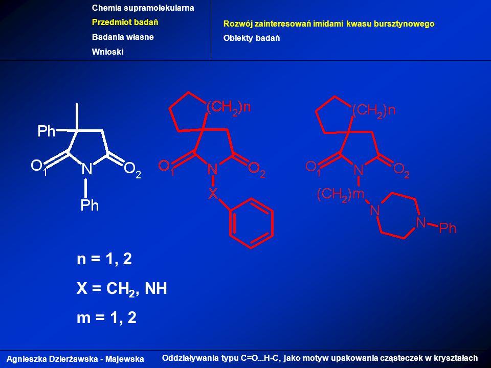 Agnieszka Dzierżawska - Majewska Oddziaływania typu C=O...H-C, jako motyw upakowania cząsteczek w kryształach Chemia supramolekularna Przedmiot badań Badania własne Wnioski Rozwój zainteresowań imidami kwasu bursztynowego Obiekty badań n = 1, 2 X = CH 2, NH m = 1, 2