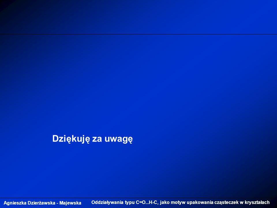Agnieszka Dzierżawska - Majewska Oddziaływania typu C=O...H-C, jako motyw upakowania cząsteczek w kryształach Dziękuję za uwagę
