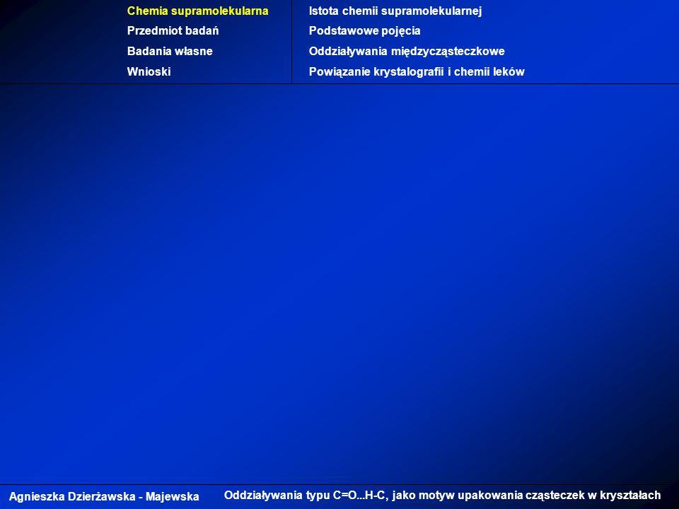 Agnieszka Dzierżawska - Majewska Oddziaływania typu C=O...H-C, jako motyw upakowania cząsteczek w kryształach Chemia supramolekularna Przedmiot badań Badania własne Wnioski Istota chemii supramolekularnej Podstawowe pojęcia Oddziaływania międzycząsteczkowe Powiązanie krystalografii i chemii leków