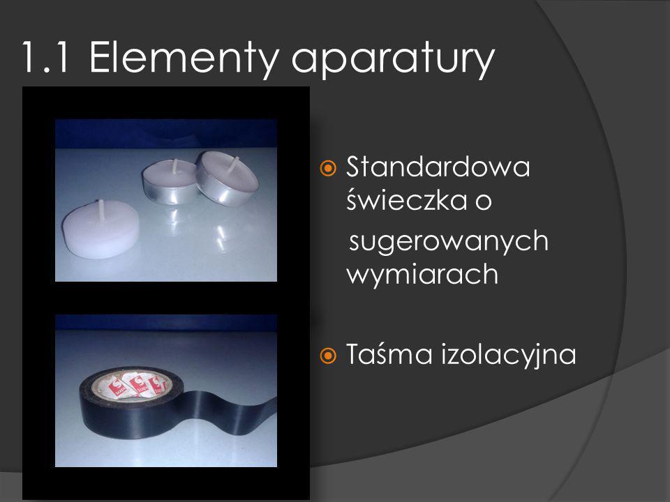 1.1 Elementy aparatury Standardowa świeczka o sugerowanych wymiarach Taśma izolacyjna