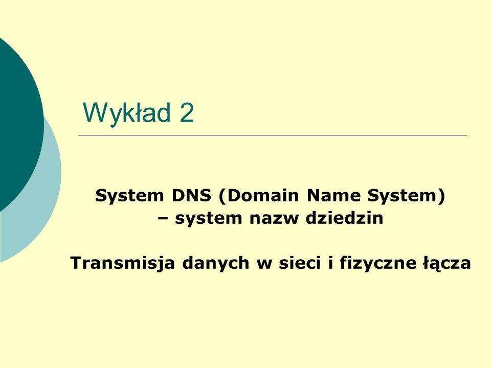 Wykład 2 System DNS (Domain Name System) – system nazw dziedzin Transmisja danych w sieci i fizyczne łącza